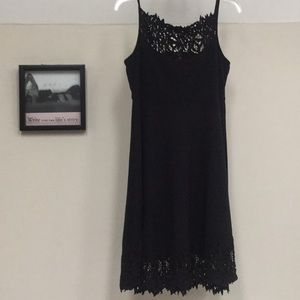 Black dress by Free People with crochet accents